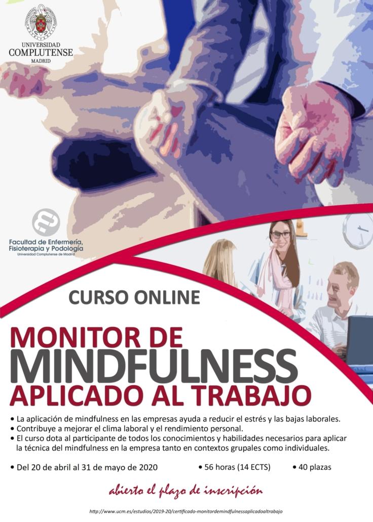 """Cartel del curso """"Monitor de Mindfulness aplicado al trabajo"""" de la Universidad Complutense de Madrid."""